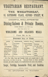 Advert for the Wheatsheaf Vegetarian Restaurant 6510